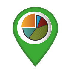 Mark icon pointer with pie chart graphic vector