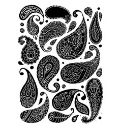 paisley ornament set sketch for your design vector image