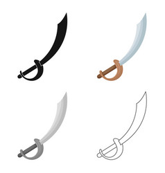 Pirate sabre icon in cartoon style isolated on vector