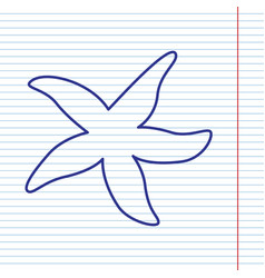 sea star sign navy line icon on notebook vector image vector image