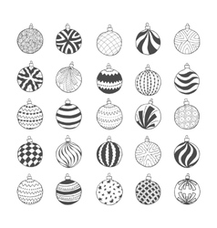 Set of hand drawn Christmas balls vector image vector image