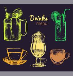 Soft drinks and glasses for barrestaurantcafe vector