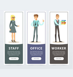 vertical banners set with people characters in vector image vector image