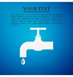 Water tap flat icon on blue background vector image vector image
