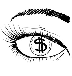 Doodle eye iris money greed vector