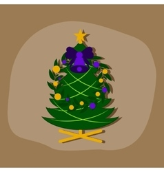 Paper sticker on stylish background christmas fir vector