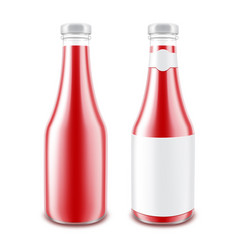 Set of tomato ketchup bottle on white background vector