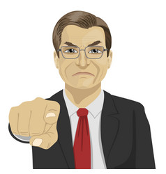 Angry mature businessman pointing finger at you vector