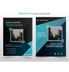 Blue black abstract annual report brochure vector
