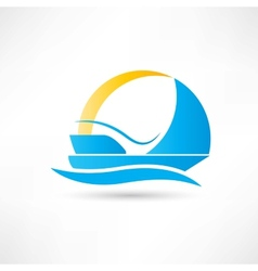 Sailboat on the sea with the breeze icon vector