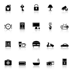General home stay icons with reflect on white vector