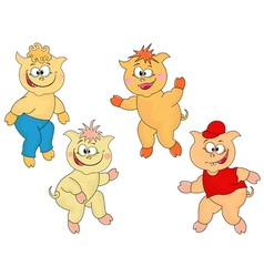 Four funny cartoon piglets vector