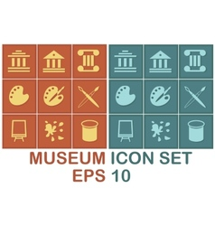 Museum icon set on brown and blue background vector