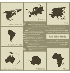 Infographics parts of the world in the earth vector