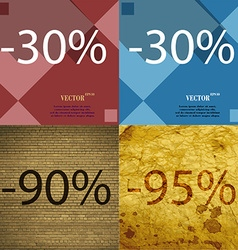30 90 95 icon set of percent discount on abstract vector