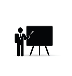 Teacher front schoolboard black vector