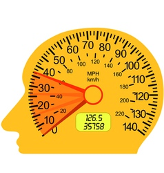 Car speedometer in the human brain vector