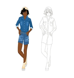 Girl denim fashion african color no 2 vector