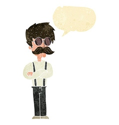 Cartoon hipster man with mustache and spectacles vector