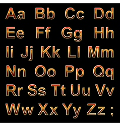 Alphabet pseudo 3d red letters on a black vector image