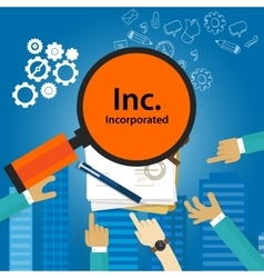 Inc incorporated types of business corporation vector