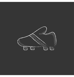 Football boot drawn in chalk icon vector