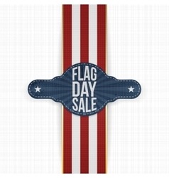 Flag day sale festive tag with ribbon and shadow vector