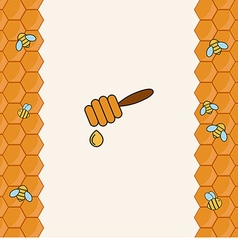 Background with bees on the honeycomb vector