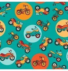 Seamless pattern with circles and motorcycles vector