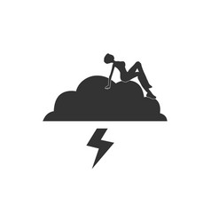 A young woman is sitting on the cloud vector