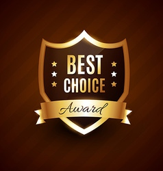 best choice golden award label badge vector image vector image