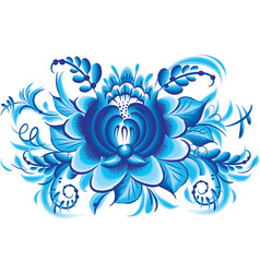 Blue flower in gzhel style vector image vector image