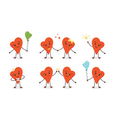 Cartoon doodle heart characters vector