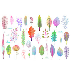fall leaves colorful design collection isolated vector image vector image