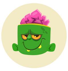funny zombie head cartoon character vector image