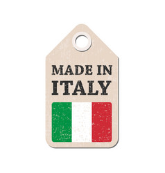 Hang tag made in italy with flag vector