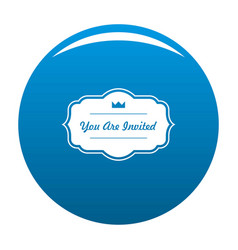 Invated label icon blue vector
