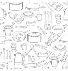 Kitchen equipment pattern vector