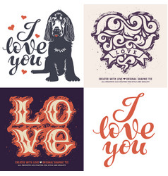 love t-shirt set 001 vector image vector image