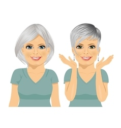 Mature woman with different hairstyles vector