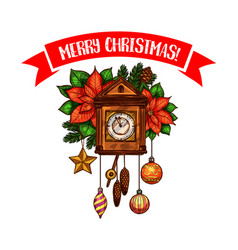 merry christmas greeting clock sketch icon vector image
