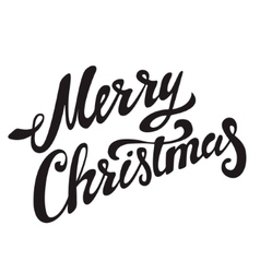 Merry christmas hand drawn lettering on light vector
