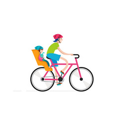 Mother with baby riding on bicycle vector