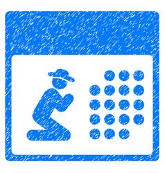 Pray calendar grunge icon vector