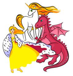 Princess unicorn dragon vector