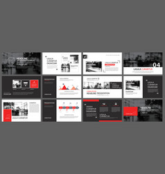 Red and black element for slide infographic on vector