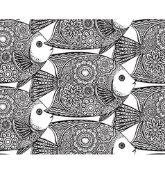 seamless pattern with Hand drawn fish vector image