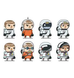 space sci-fi cosmonaut astronaut spaceman icons vector image vector image