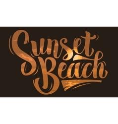 Sunset beach brush script lettering type design vector