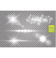 transparent sunlight lens flare light effect star vector image